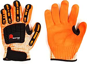 Impact Resistant Safety Work Gloves, Orange, Size 10
