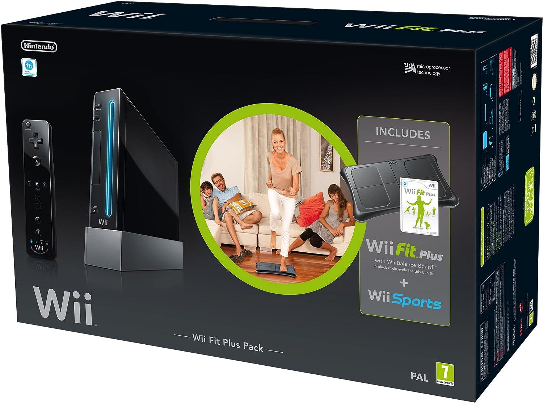 Nintendo Wii Console + Wii Fit Plus Bundle - juegos de PC (Wii, 512 MB, SD, 802.11b, 802.11g, Negro, AV): Amazon.es: Videojuegos
