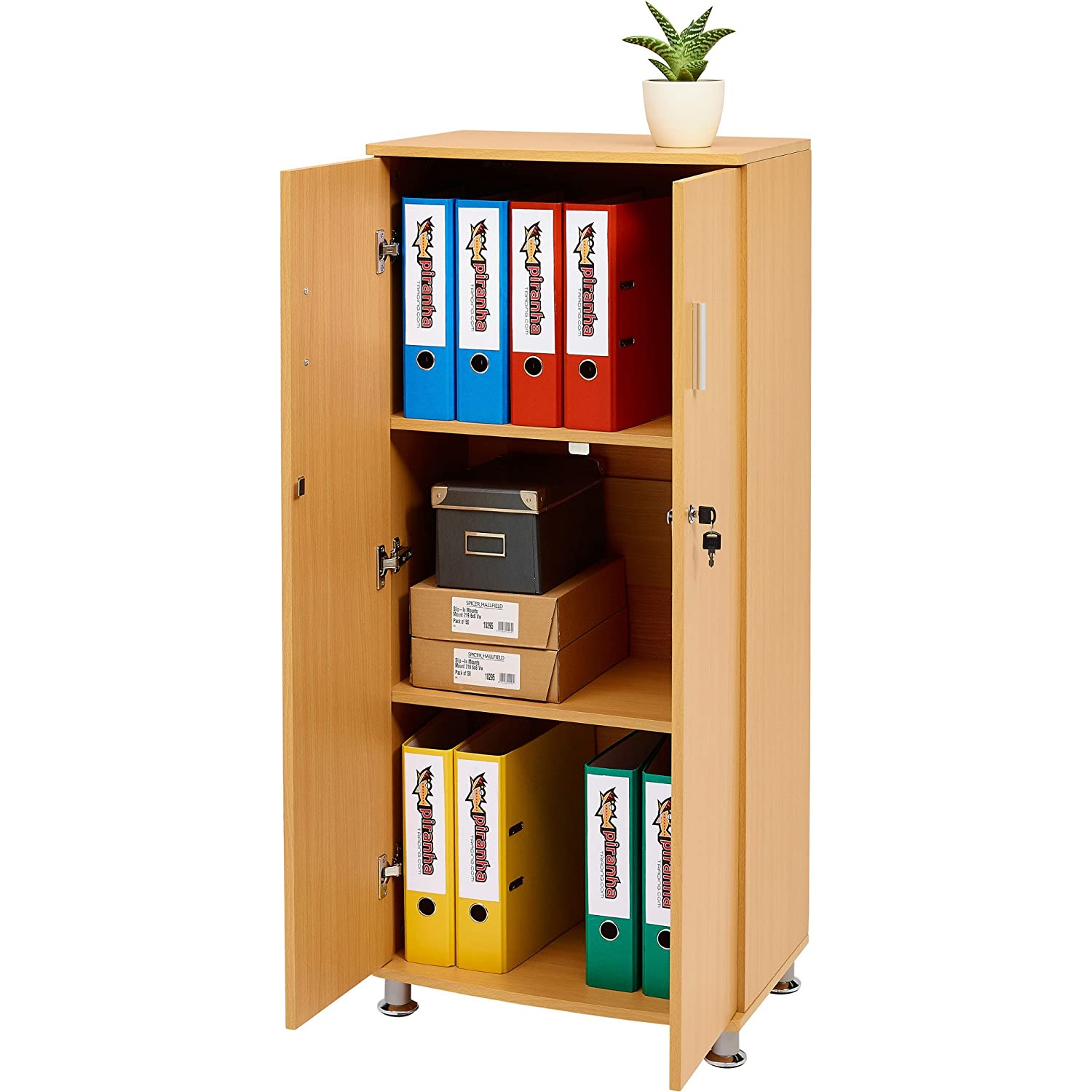 office desk cabinet. tall cupboard with 3 shelves storage filing cabinet matching range of home office in beech piranha furniture bonito pc 6b amazoncouk kitchen u0026 desk k