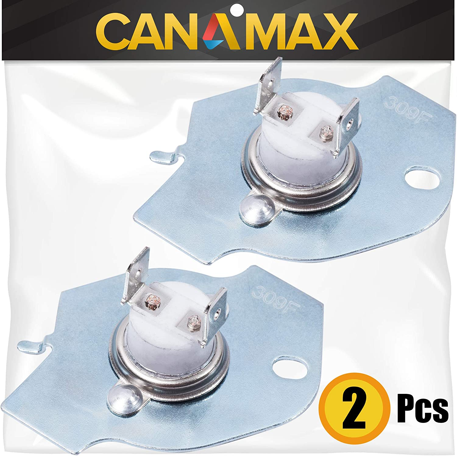 3977393 Dryer Thermal Cut-Off Fuse Premium Replacement Part by Canamax - Compatible with Whirlpool and Kenmore Dryers - Replaces WP3977393, 3399848, AP3094244 - PACK OF 2