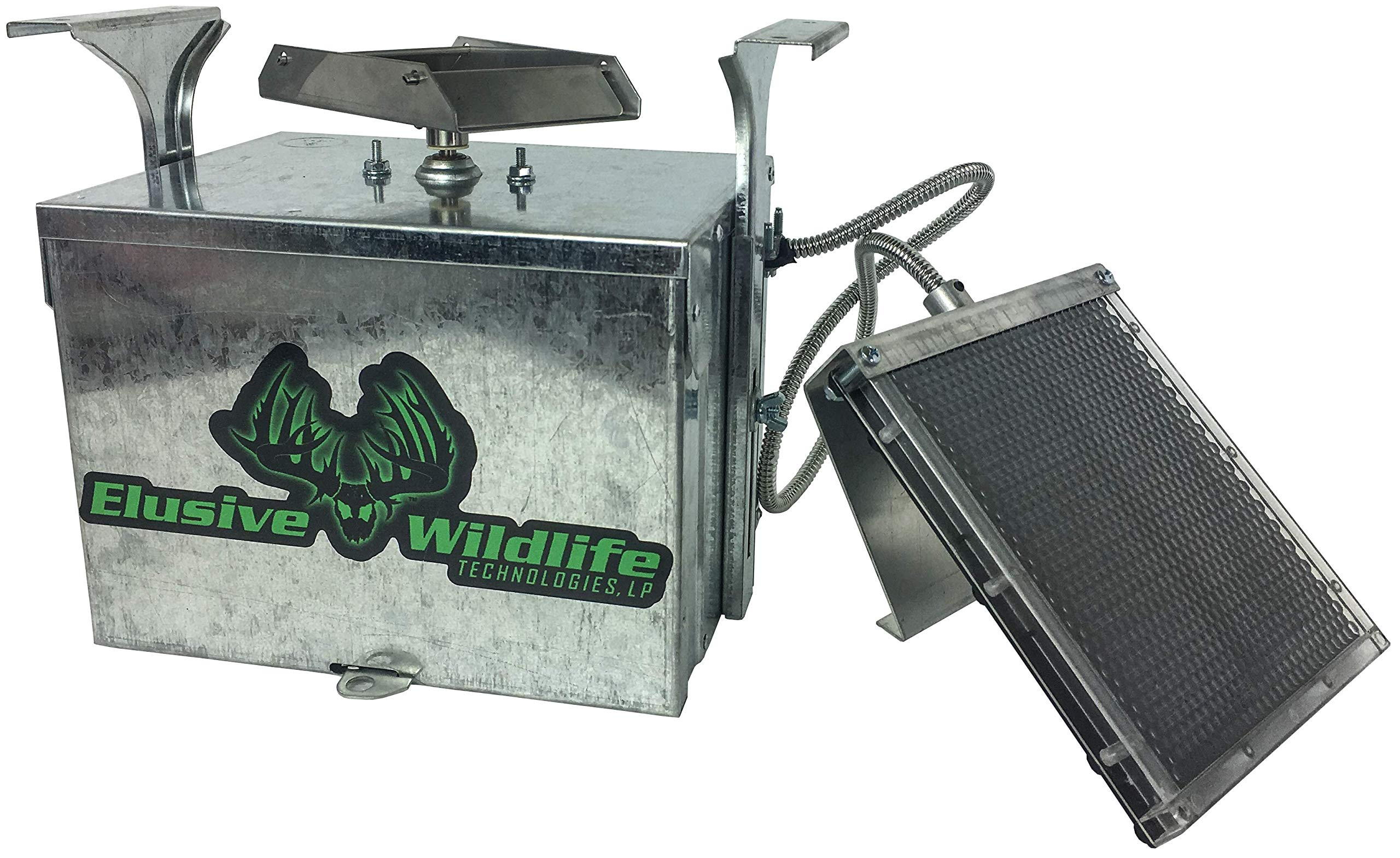 Elusive Wildlife Premium 12 Volt Feeder Control Box with The Timer and Cabled Solar Panel (Galvanized)