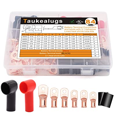 84PCS Battery Terminal Connectors Boots Cover,AWG8-2 3/8 5/16inch Crimp Copper Wire Ring lugs Cable Ends with Adhesive Lined 3:1 Heat Shrink Tube Assortment Kit: Industrial & Scientific