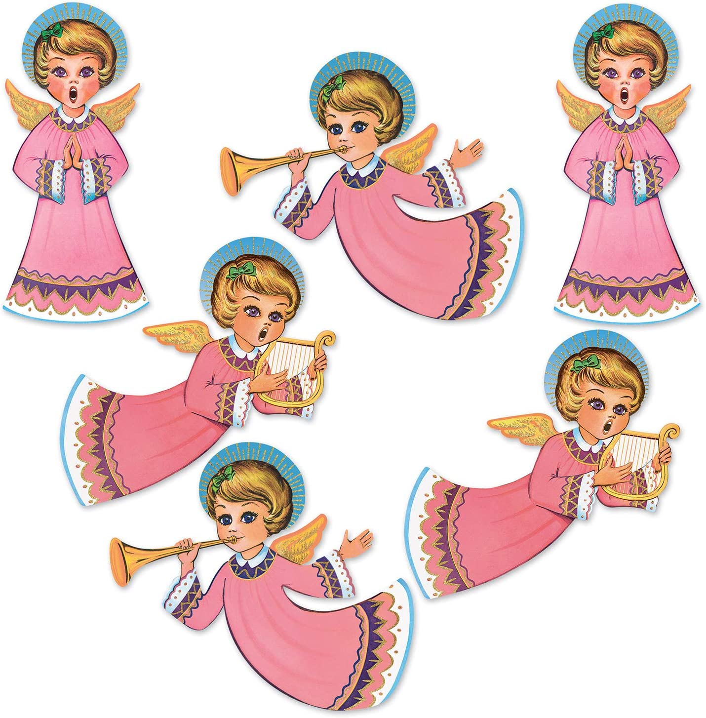 """Beistle Vintage Christmas Glittered Angel Cutouts 6 Piece, 14.5"""" - 16.25"""", Multicolor"""