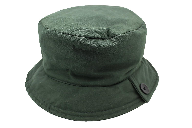 b8ecdc541d5 Ladies Quality Green Waxed Cotton Waterproof Wax Cloche Bucket Hat   Amazon.co.uk  Clothing