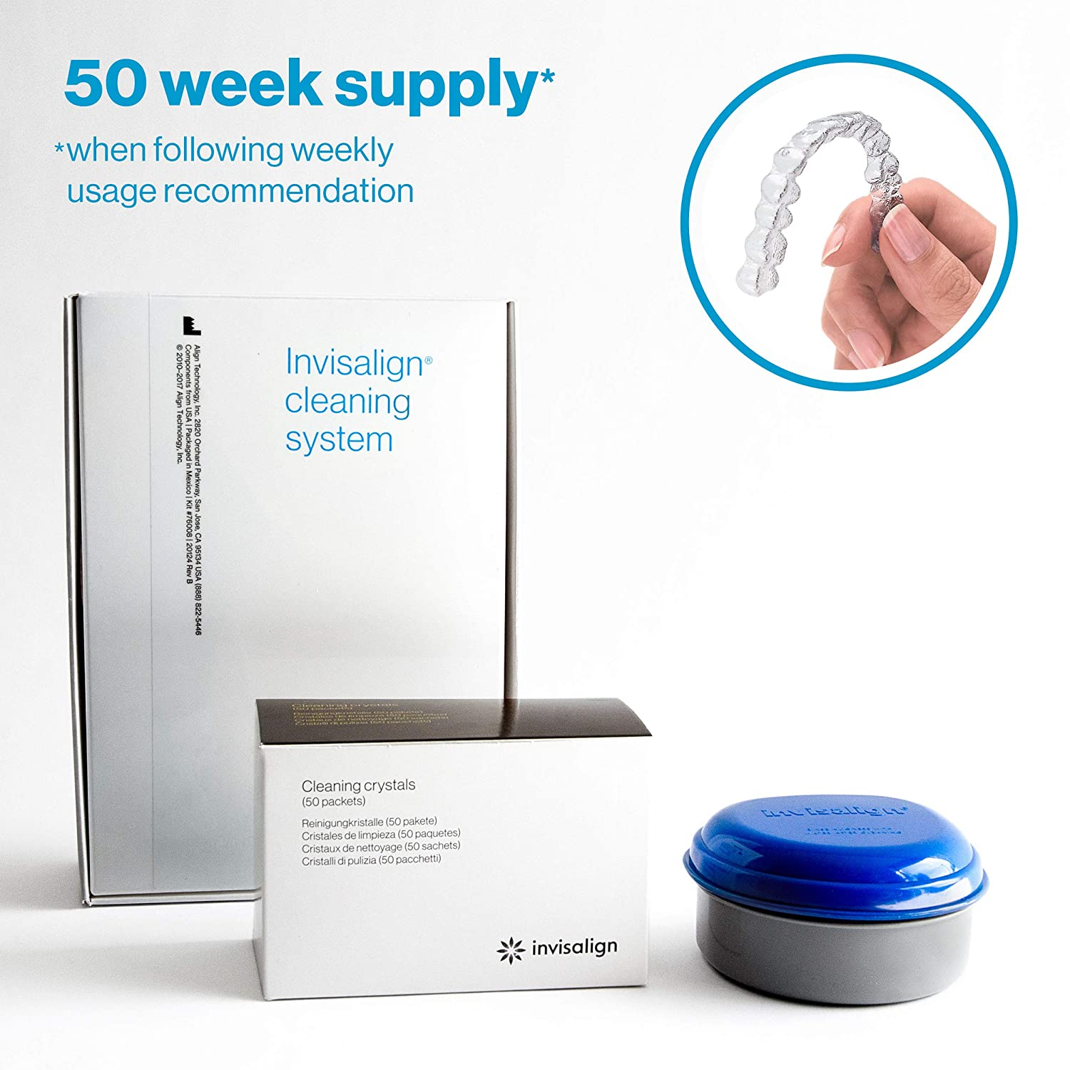 Invisalign Cleaning System for Aligners and Retainers (with Tub) - 50 week supply