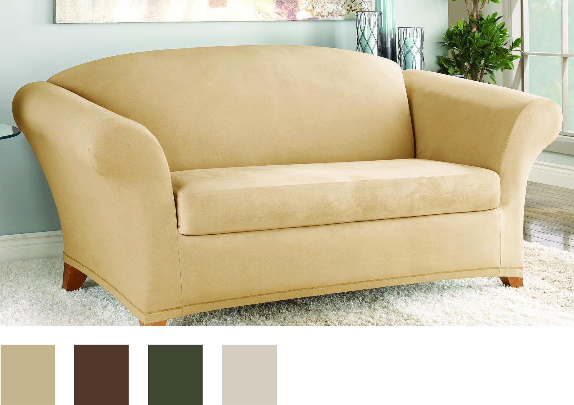 Sure Fit Stretch Suede - Loveseat Slipcover  - Camel (SF36448) by Surefit (Image #2)
