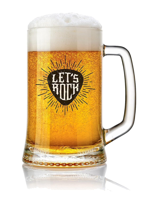 Boccale di vetro per birra 500 ml con messaggio design Lets Rock