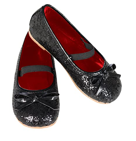 Rubie's Costume Black Glitter Child Flat Shoes, Large