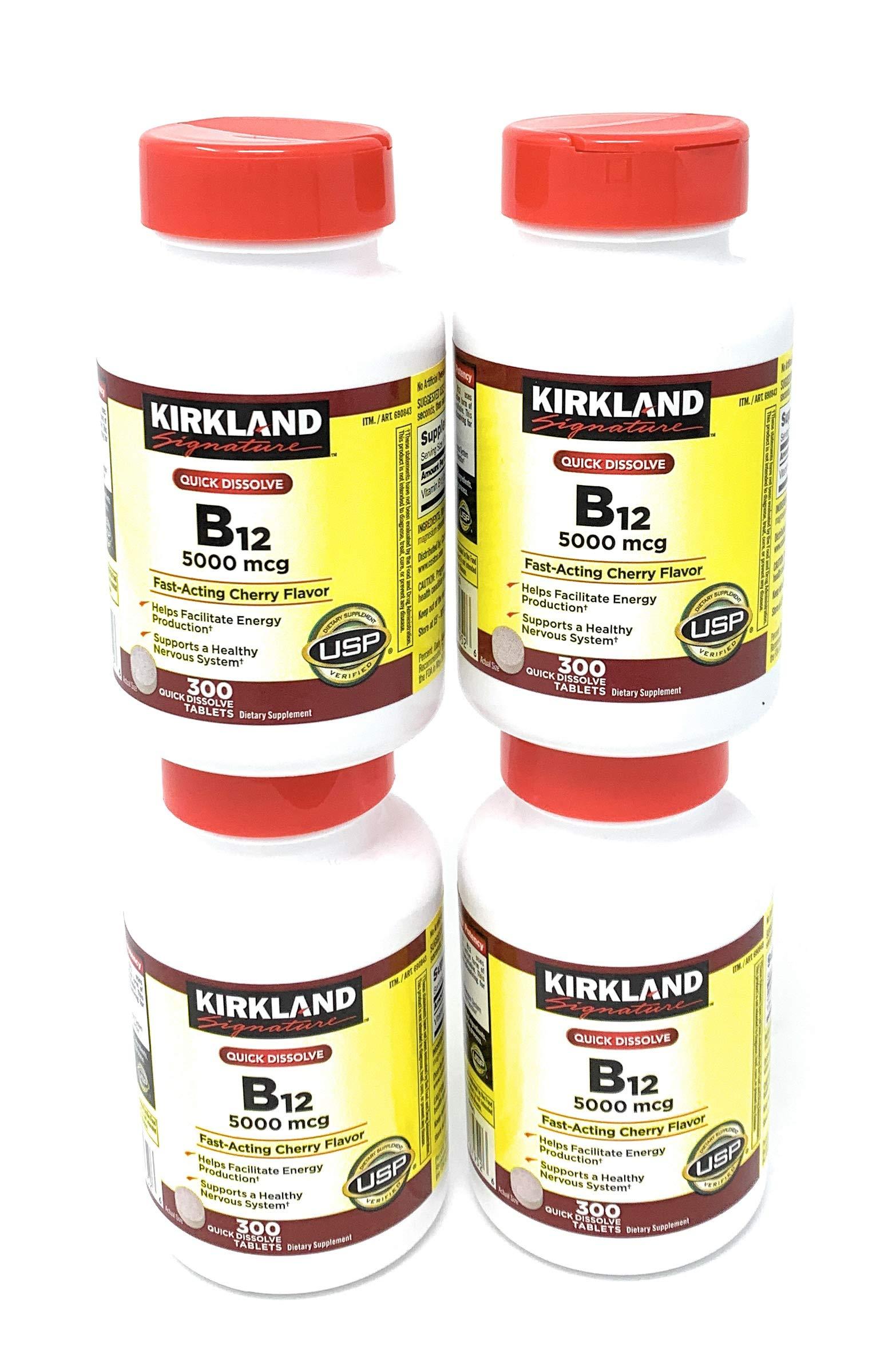 Kirkland Signature, Sublingual B-12 5000 mcg jIaJY 300 Tablets (Pack of 4)