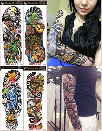 532c38a8ccba8 Amazon.com : DaLin 4 Sheets Extra Large Temporary Tattoos, Full Arm (Set 1)  : Beauty