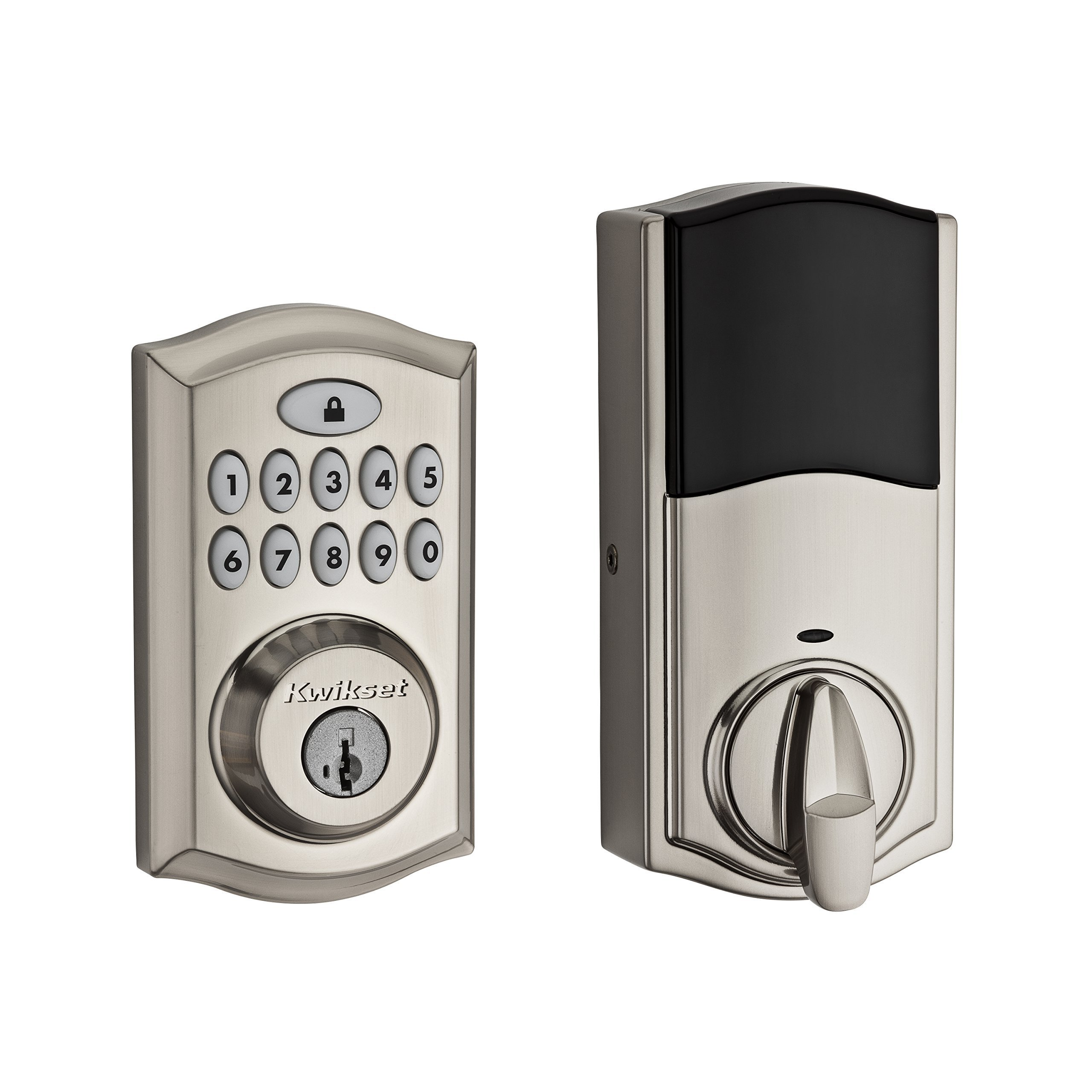 Kwikset 913 SmartCode Electronic Deadbolt featuring SmartKey Security and Avalon Handleset with Tustin Right Handed and Left Handed Lever in Satin Nickel