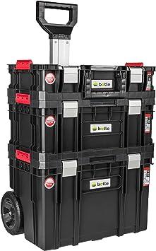 Caja de herramientas con ruedas, 3 cajas apilables, caja de ...