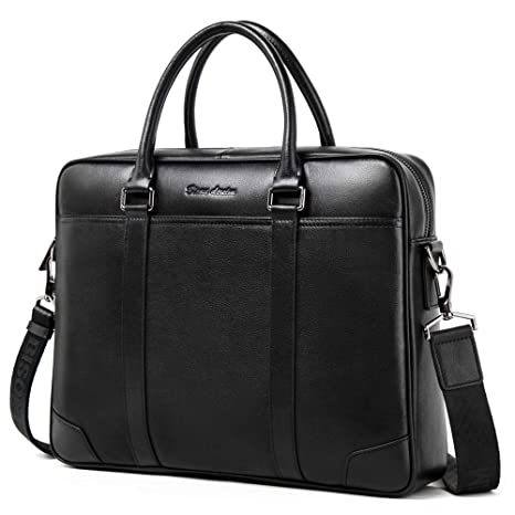 f3eac7db8eb6 Bison Denim Leather Men s Laptop Bag Briefcase Handbag Messenger (N2610- Black)  Amazon.co.uk  Luggage