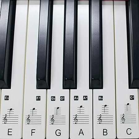 Set de pegatinas para teclado electrónico o piano con 88 teclas, ideal para aprender a tocar rápido, plástico laminado transparente, PS1C 88