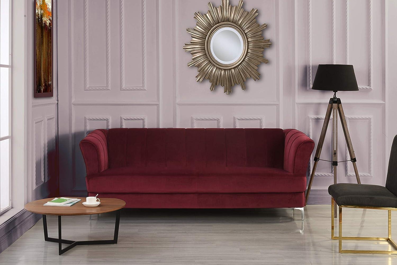 DIVANO ROMA FURNITURE Elegant Classic Living Room Velvet Sofa - Colors  Blue, Green, Grey, Red (Red)