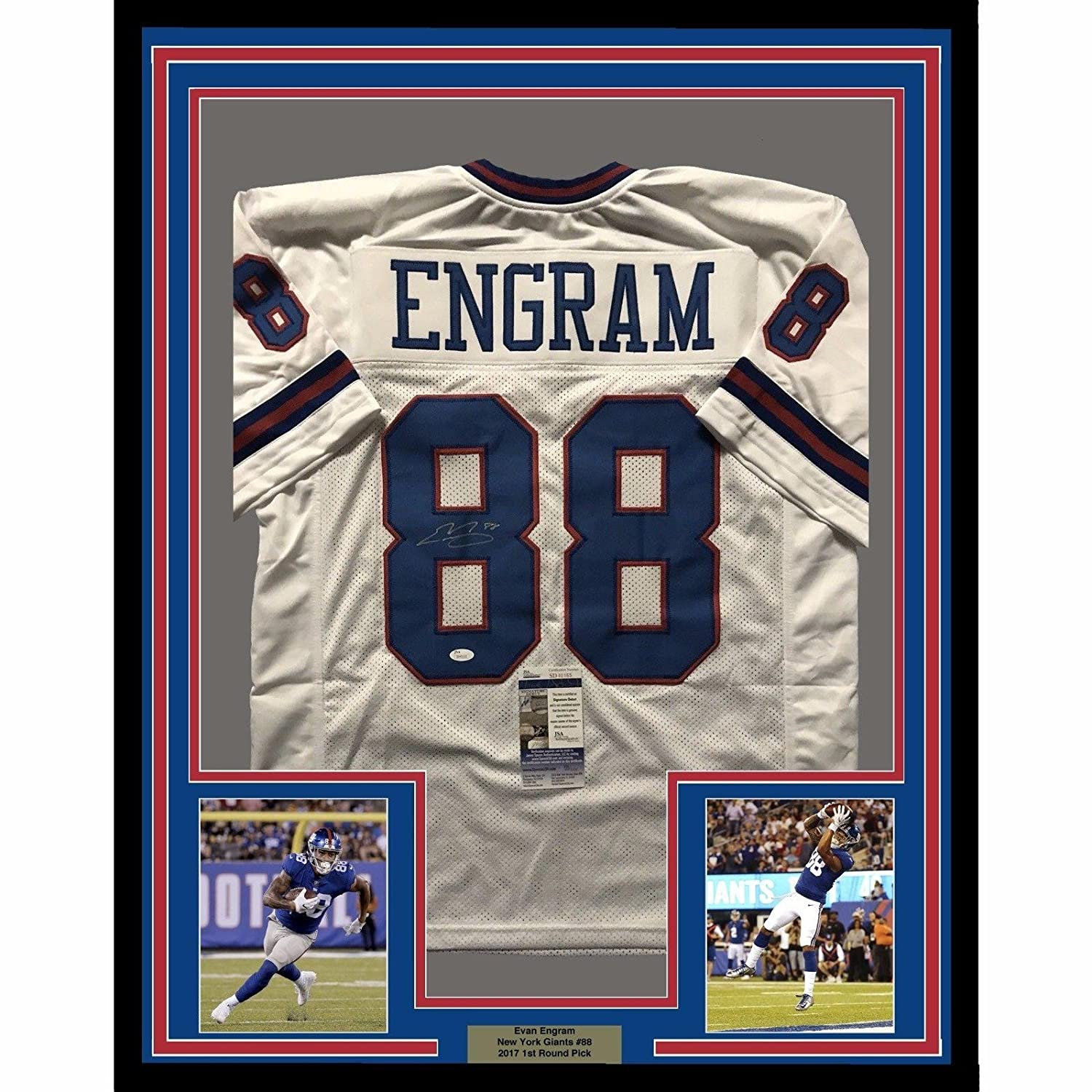 dcfdbf84a Amazon.com  Evan Engram Autographed Jersey - FRAMED 33x42 Color Rush COA -  JSA Certified - Autographed NFL Jerseys  Sports Collectibles