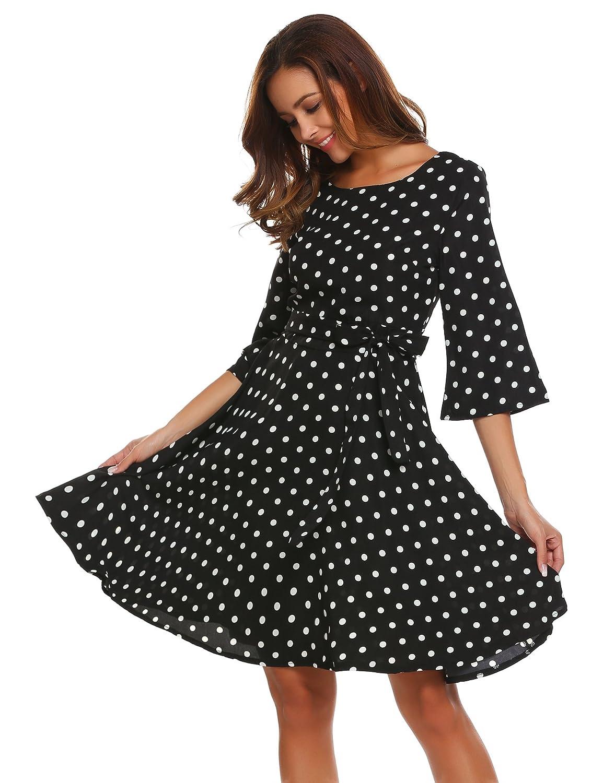 Meaneor Damen Elegantes Vintage Sommerkleid Skaterkleid Festliches Kleid Swing Kleid mit Gürtel Cocktailkleid Partykleid Abendkleid Polka Dots 3/4 Arm Knielang