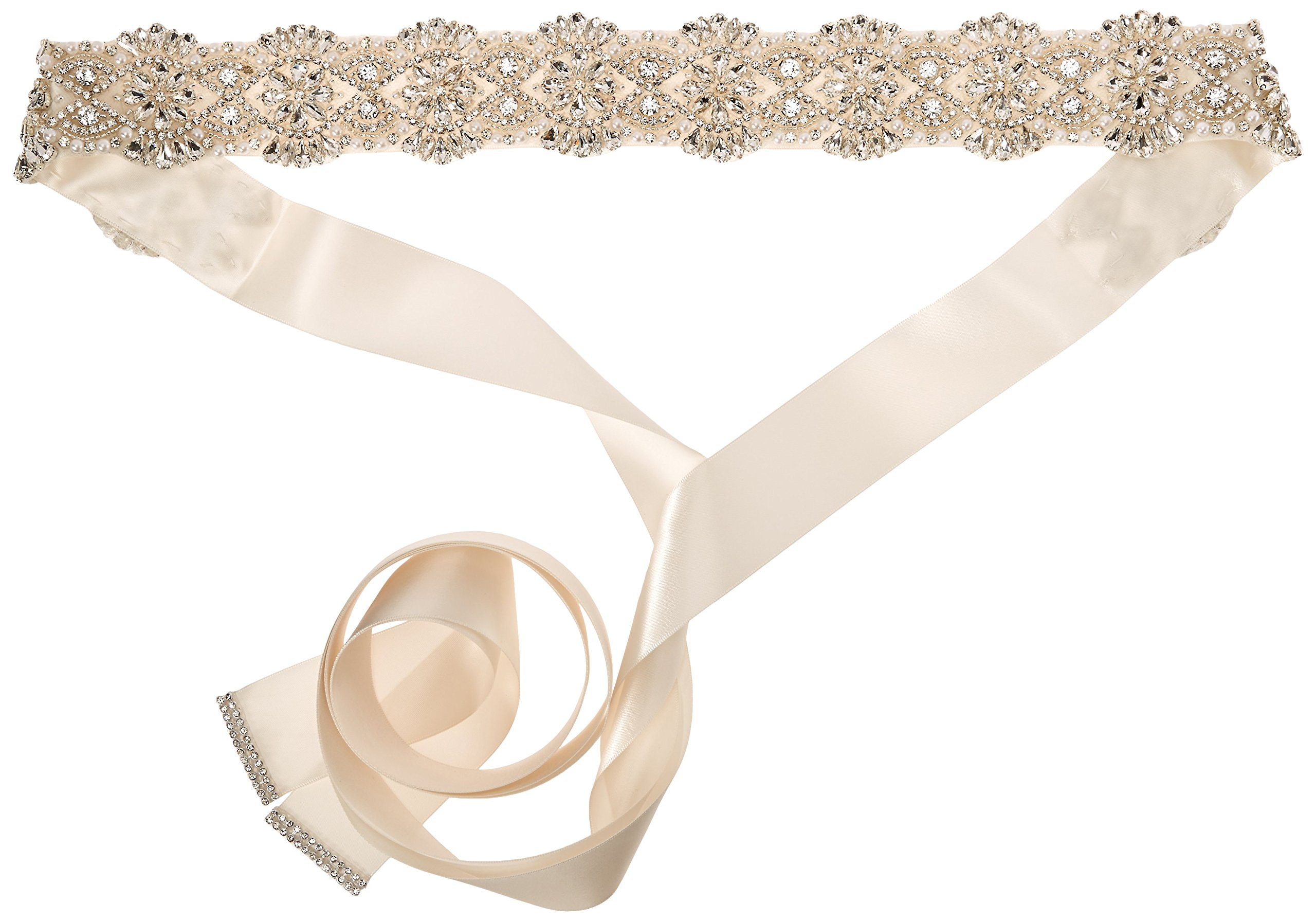 Nina Women's Merina Glamorous Pearl and Crystal Satin Bridal Belt, Ivory, One Size by Nina