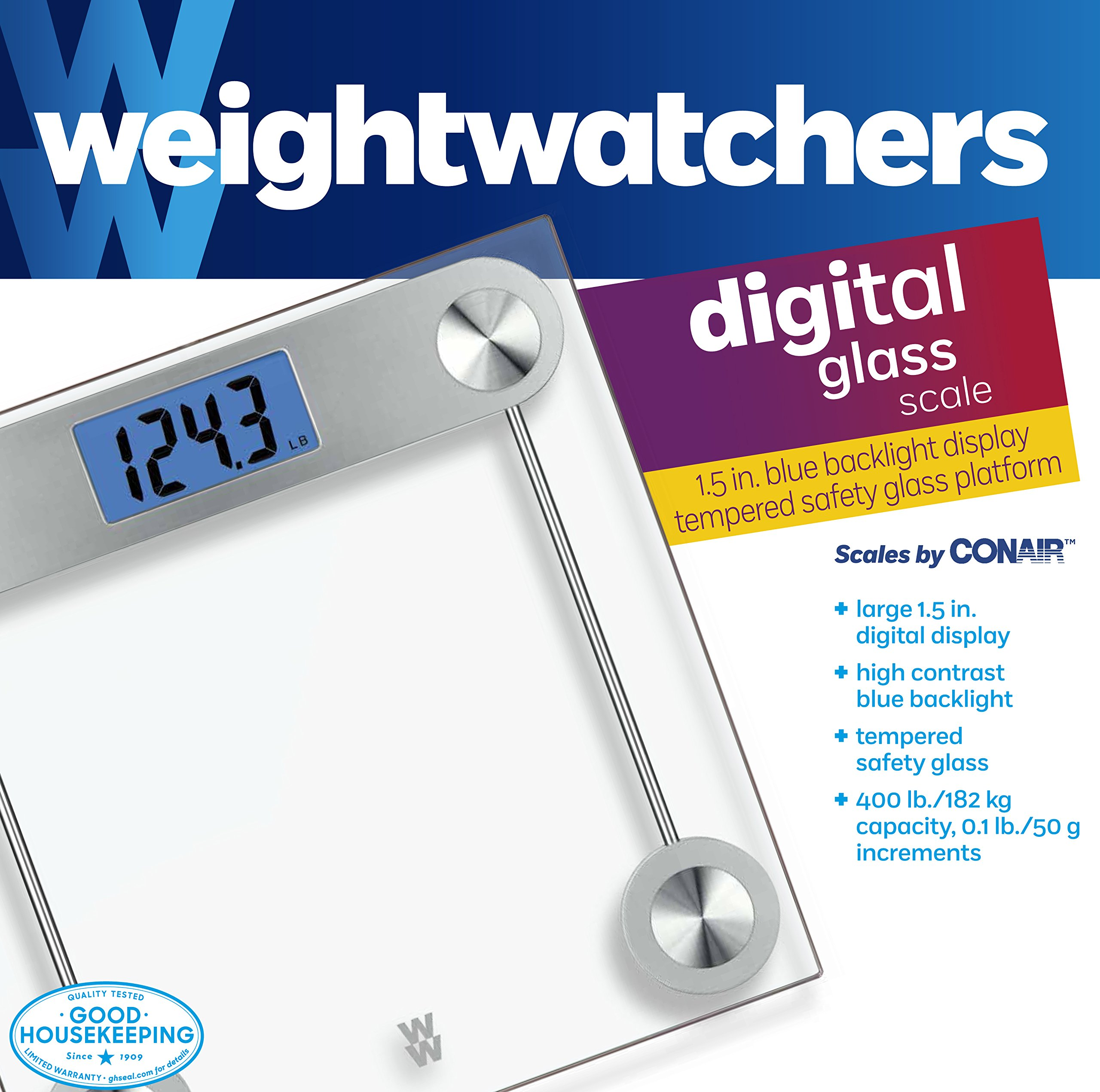 Weight Watchers by Conair Digital Glass Bathroom Scale; 400 lb. capacity; Elegant Gold Finish Bath Scale by Conair (Image #4)