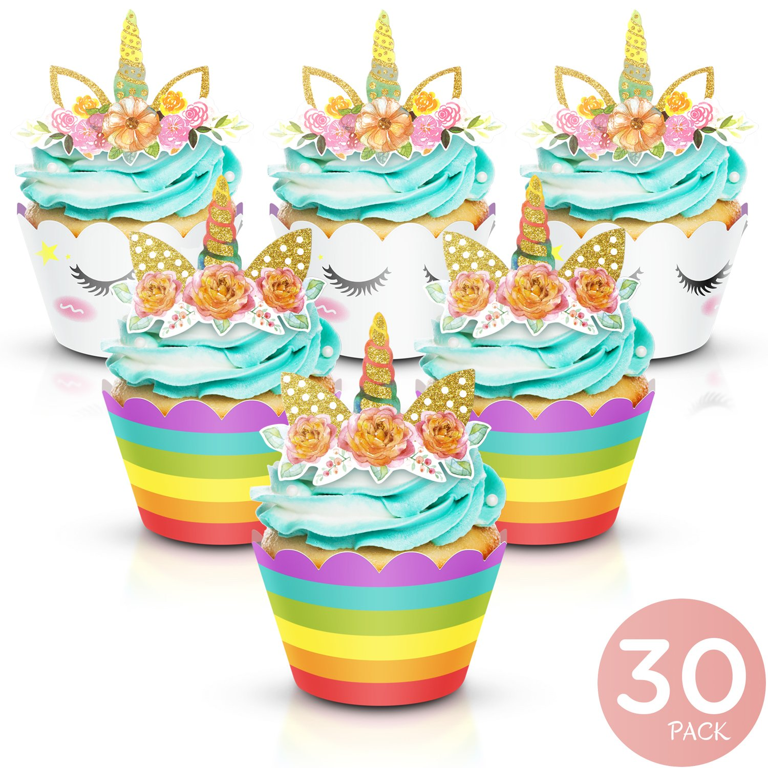 Augmist Unicorn Cupcake Toppers and Wrappers - Party Supplies for Birthday, Baby Shower, Valentine, Baby Shower - Double-Sided Glitter Design Cake Decorations. 30 Pairs