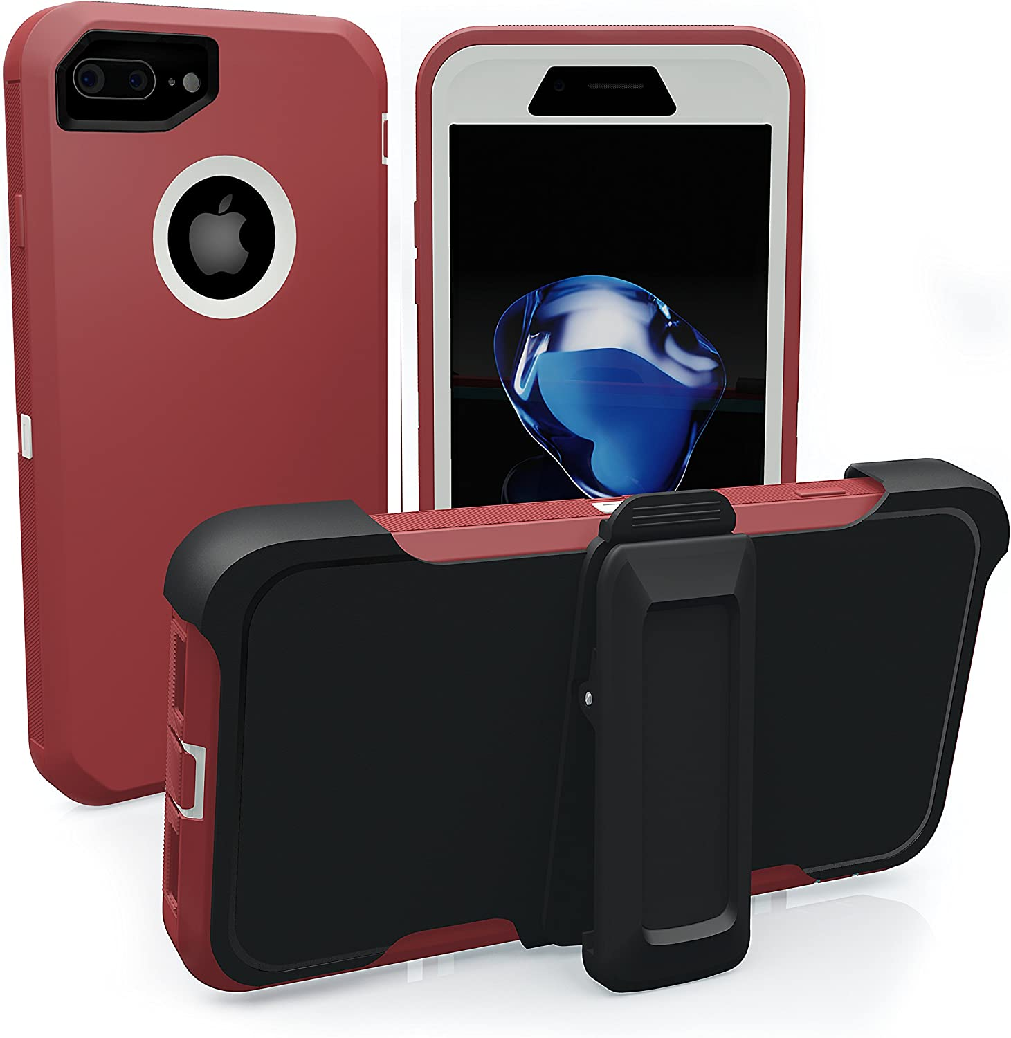 iPhone 7 Plus Case, iPhone 8 Plus Case, ToughBox [Armor Series] [Shock Proof] [Red | White] for Apple iPhone 7/8 Plus Case [Screen Protector] [Holster & Belt Clip] [Fits OtterBox Defender Clip]
