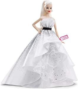 Barbie Collector: 60th Anniversary Doll, 11.5-Inch, Blonde, with Diamond-Inspired Gown and Wrist Tag
