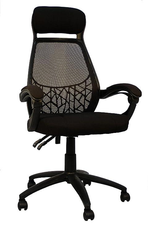 La Silla Española Malaga Silla de Oficina Reclinable, Poliéster, Negro, 30.60x74.