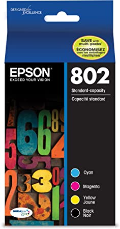 EPSON T802 DURABrite Ultra Ink Standard Capacity Black & Color Cartridge Combo Pack (T802120-BCS) for select Epson WorkForce Pro Printers