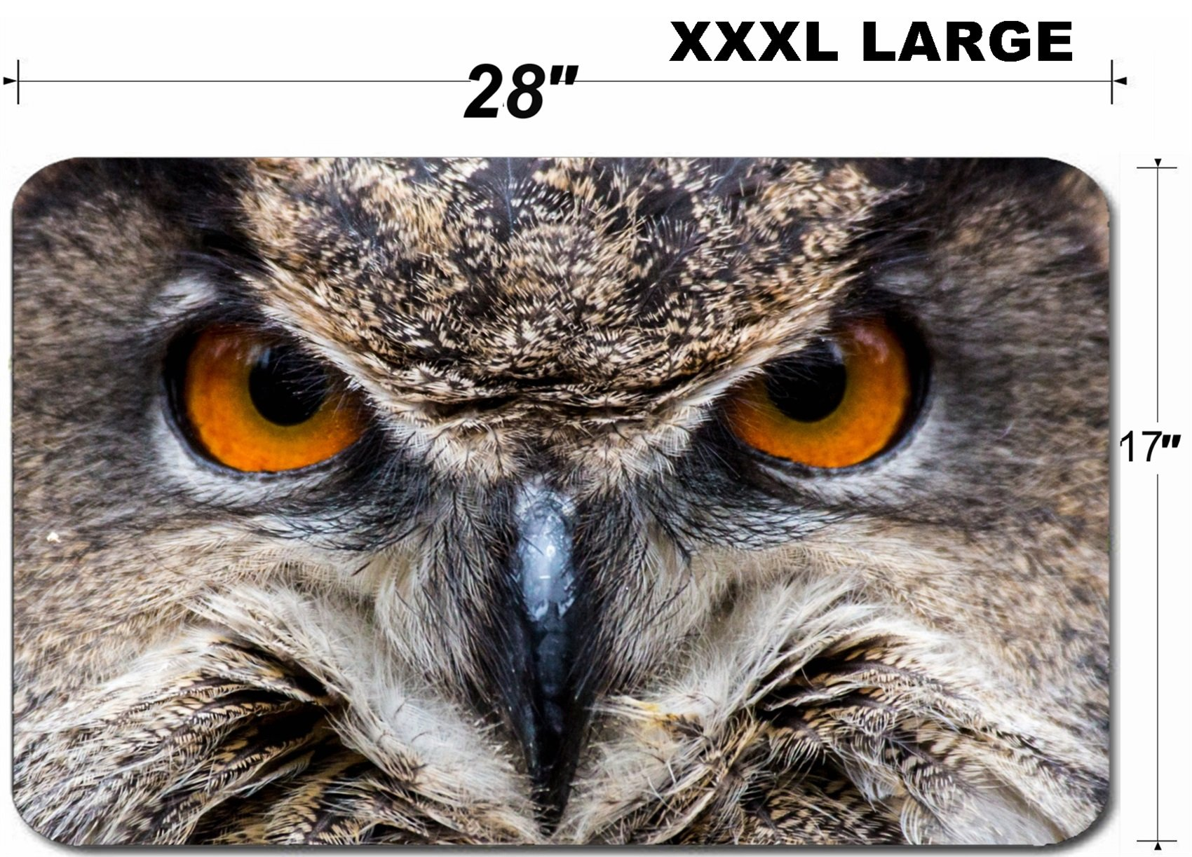 Liili Large Table Mat Non-Slip Natural Rubber Desk Pads IMAGE ID: 20523883 An adult Eurasian Eagle Owl in all of its majesty Piercing orange eyes and wide wing spa