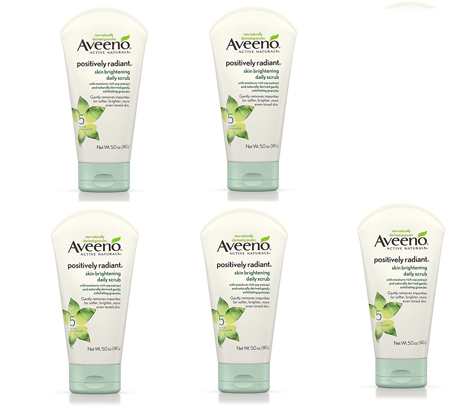 Aveeno Positively Radiant Skin Brightening Exfoliating Daily Scrub, 5 Pack (5 oz)