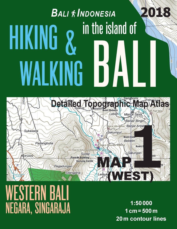 Bali Indonesia Map 1 West Hiking Walking In The Island