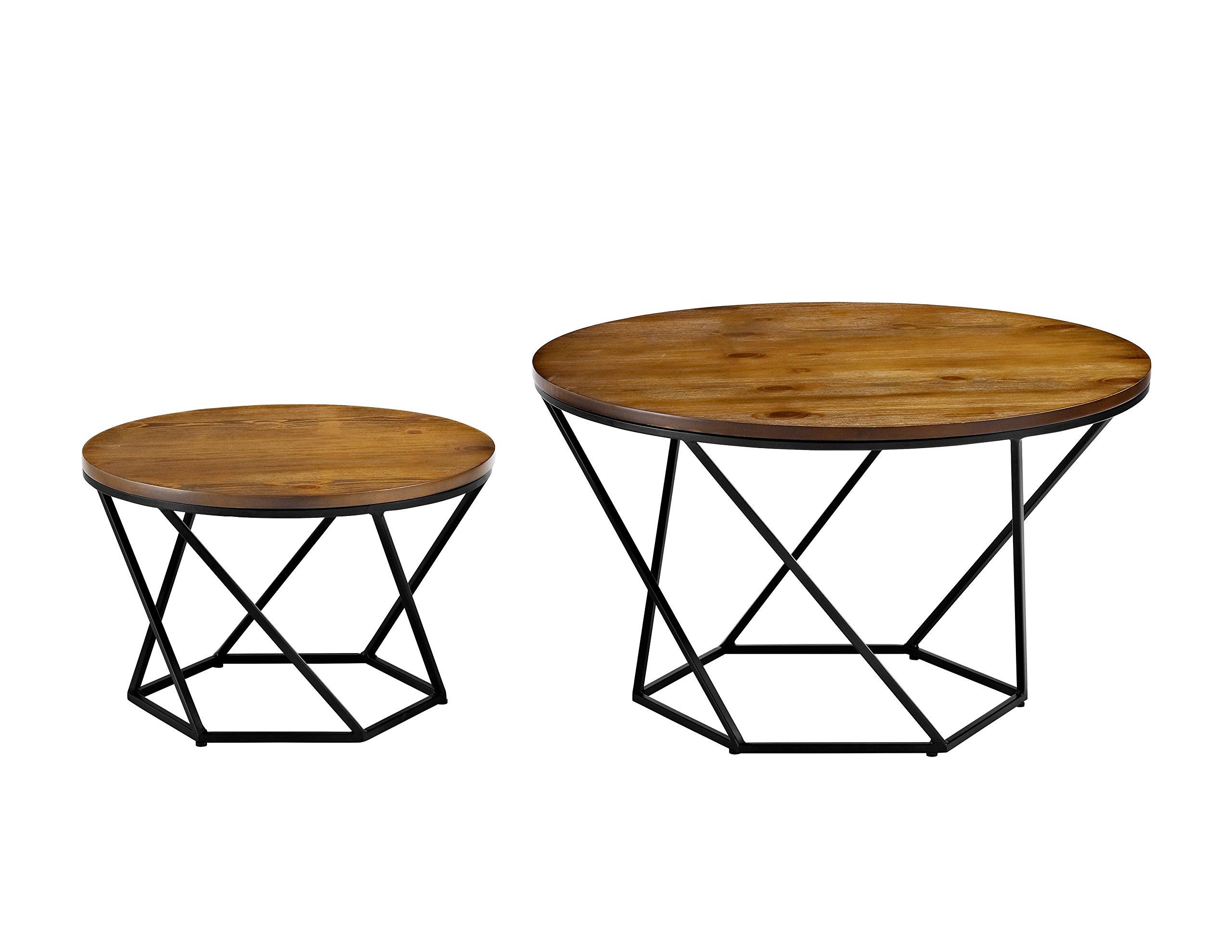 WE Furniture Geometric Wood Nesting Coffee Tables - Oak/Black by WE Furniture (Image #2)