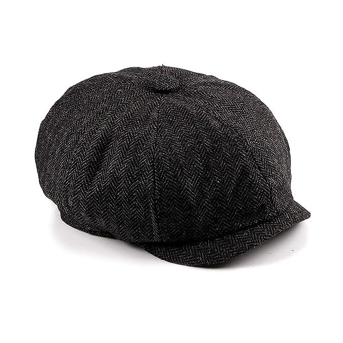 cb7ed78139a14 LANLEO Men s 8 Piece Newsboy Hat Cotton Gatsby Ivy Flat Cabbie Driving  Hunting Cap (Black