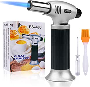 Butane Torch,SPLAKS Culinary Blow Torch Chef Cooking Torch Lighter, Butane Refillable, Flame Adjustable (MAX 2500°F) with Safety Lock for Cooking, BBQ, Baking, Brulee, Creme, DIY Soldering(Aluminum alloy)