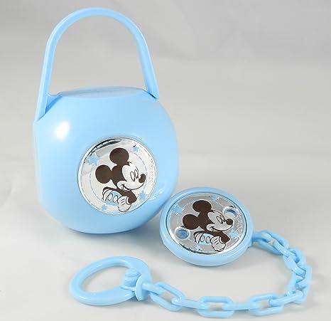 Porta Chupete a Mickey Ratón Plata con Cadena Caja: Amazon.es: Bebé