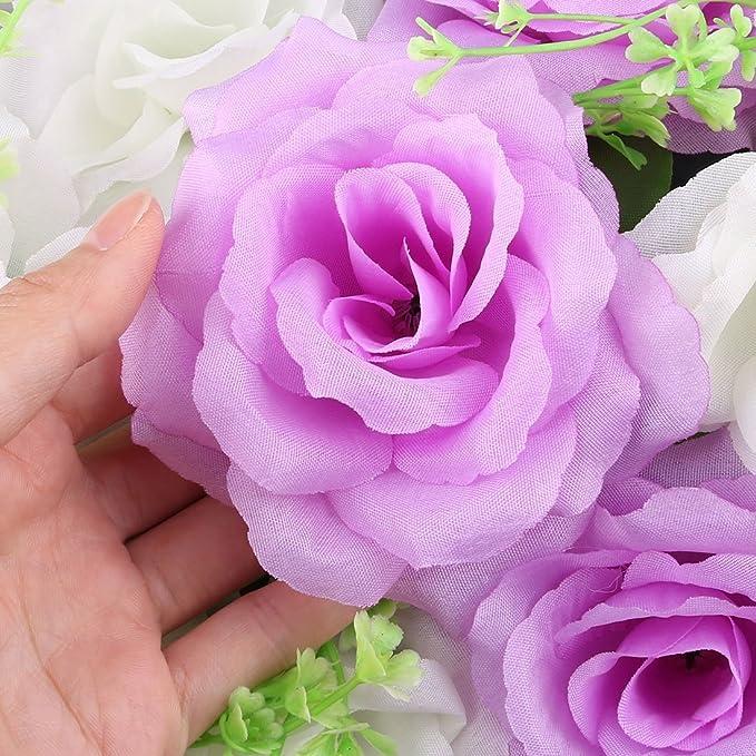 Amazon.com: eDealMax Fiesta de la boda Tela bricolaje arco de la pared colgante de la Flor Artificial de la decoración de la guirnalda púrpura Blanca: Home ...