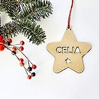 Estrellas de Navidad de madera con nombre troquelado ornamento para el árbol de Navidad