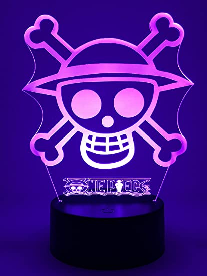 Lampada LED One Piece Luffy Cartel Cambia Colore USB luce notturna.