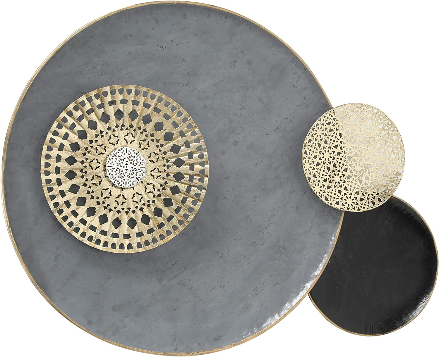 Modernist Floating Roundels, Metal Wall Sculpture, Decor, Gold Gilt Accents, Glossy Gray and Black, Metallic Lacy Pattern Details, Distressed Finish, Iron, 39.25 W x 29.5 H Inches