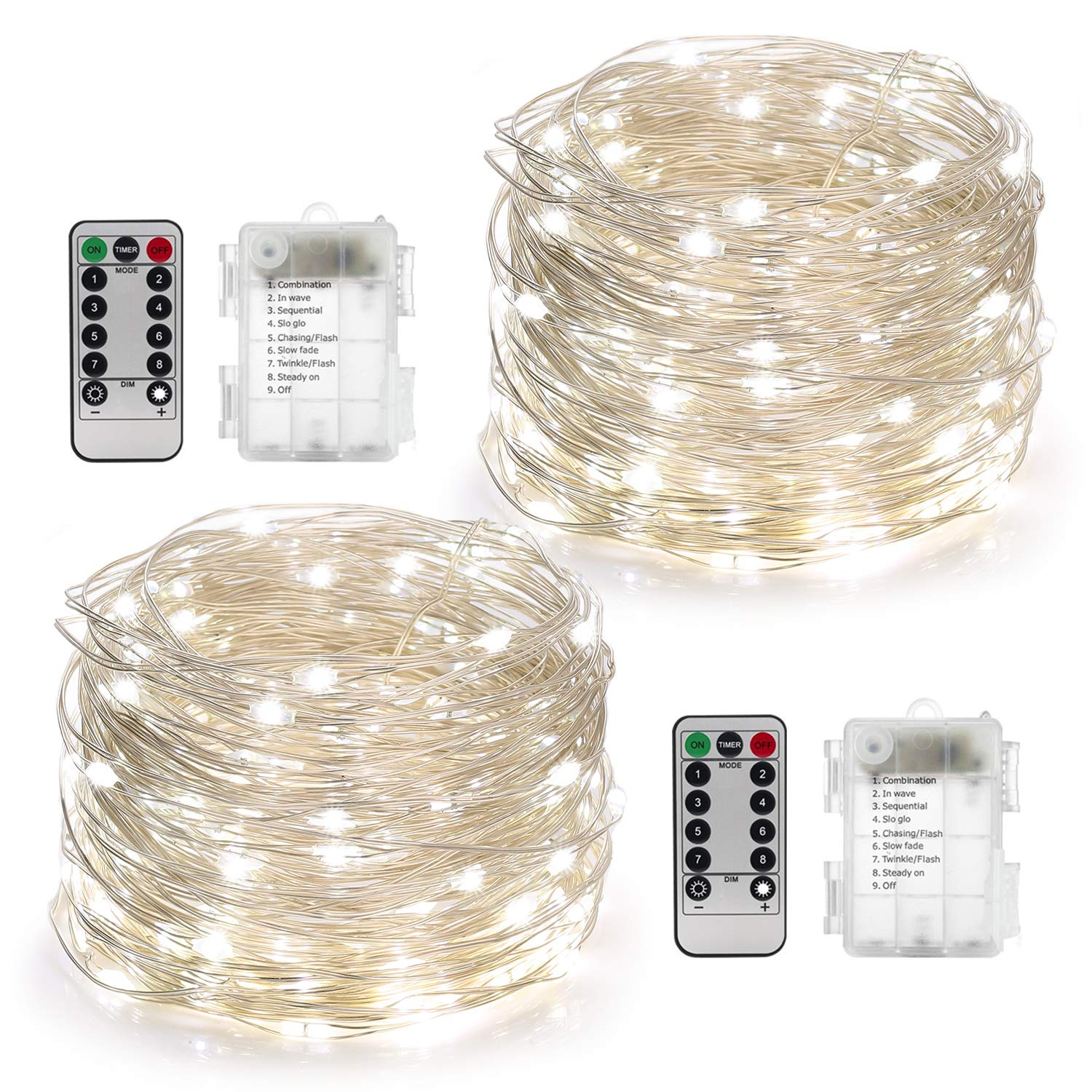YIHONG 2 Set Fairy Lights Battery Operated 50LED String Lights Remote Control Timer Twinkle String Lights 8 Modes 16.4 Feet Silver Wire Firefly Lights --White by YIHONG
