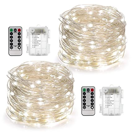 yihong 2 set fairy lights battery operated 50led string lights remote  control timer twinkle string lights