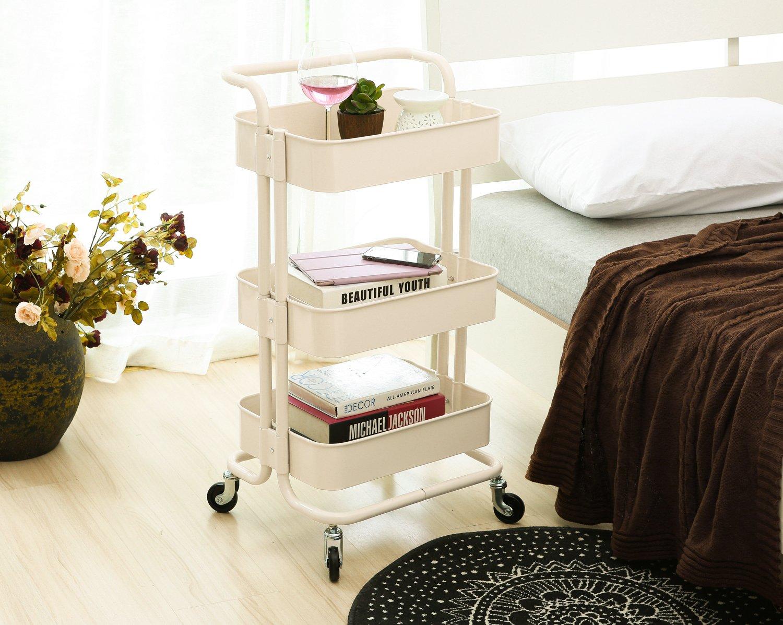 hollyhome 3-Tier Metal carrito de servicio de utilidad Rolling estantes de almacenamiento con asas: Amazon.es: Bricolaje y herramientas
