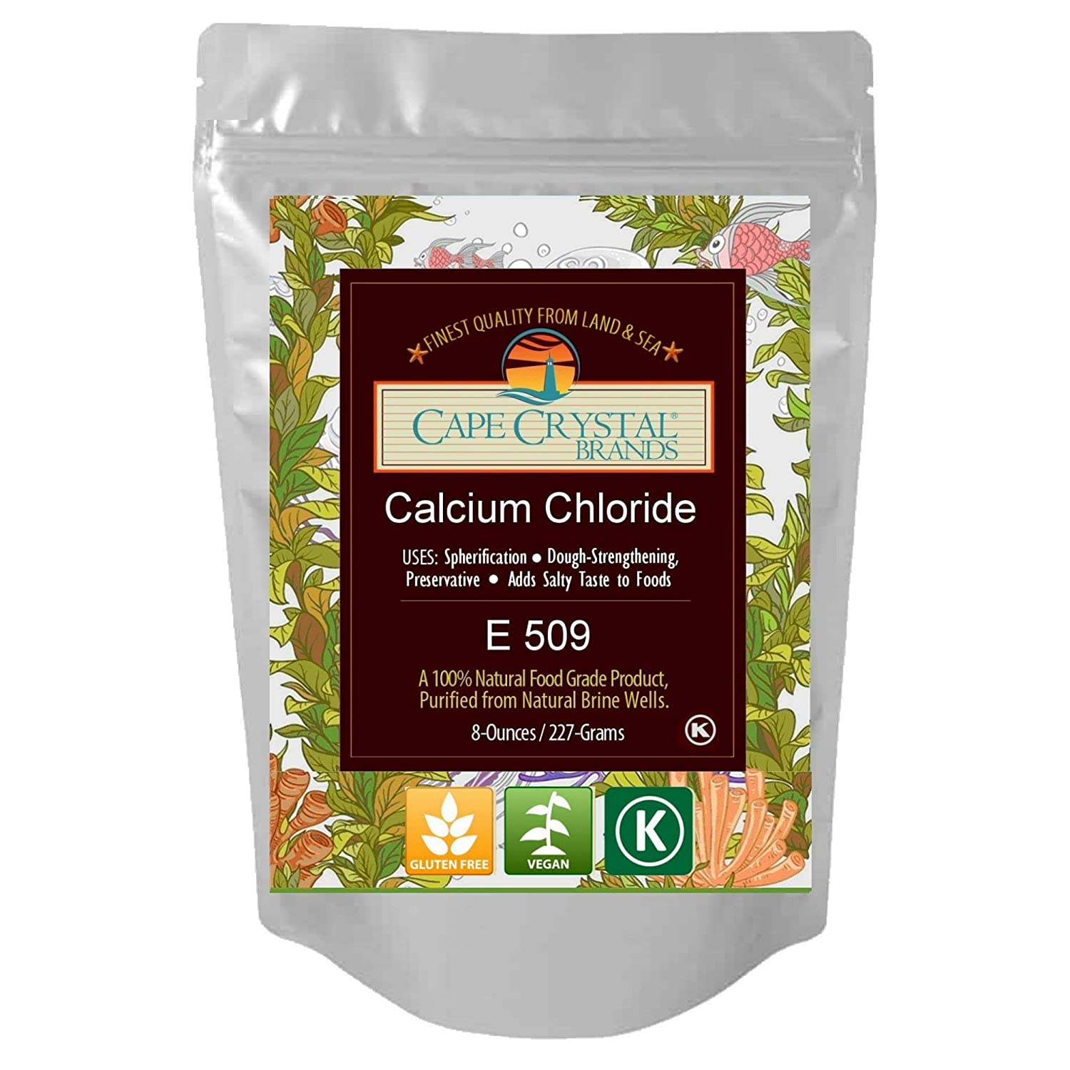 Calcium Chloride by Cape Crystal Brands | (K) Kosher Certified |2-oz / 8-oz / 14-oz (8-oz.)