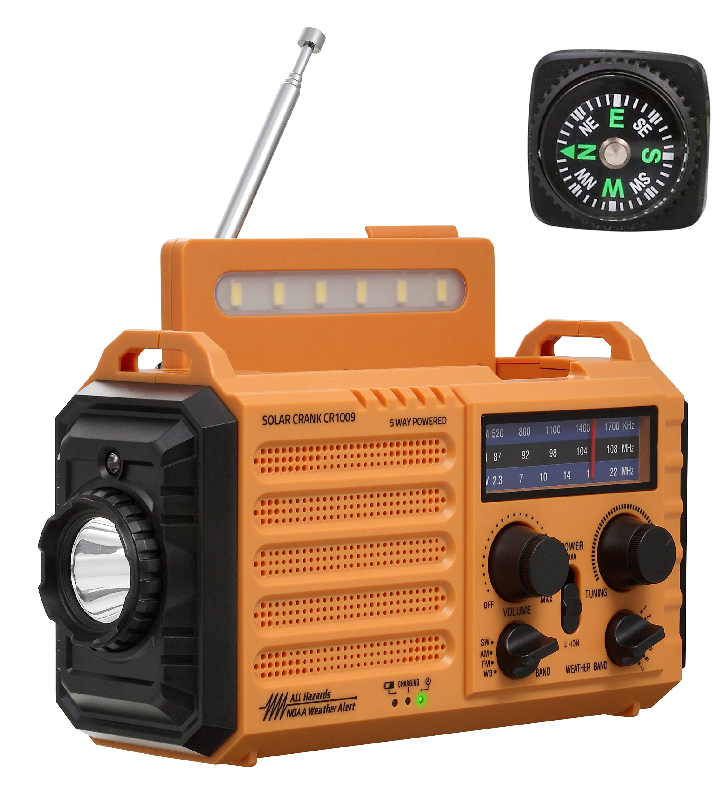 NOAA Weather Radio for Household Outdoor Emergency - Portable AM/FM SW Radio, 5 Way Powered Solar/Hand Crank/2000mAh Rechargeable Power Bank/USB Charger, LED Flashlight, Reading Lamp, Compass, Strap by HOLABABY