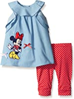 Disney Baby Girls' 2 Piece Minnie Chambray Top and Polka Dotted Legging