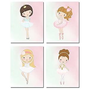 Cute Ballerina Dancer Girl Prints - Bedroom Playroom Wall Art Decor Prints - Set of Four 8x10 Photos