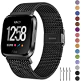 Fitlink Metal Bands Compatible for Fitbit Versa/Versa Lite Edition/Versa 2 Smart Watch for Women and Men,Small and Large…