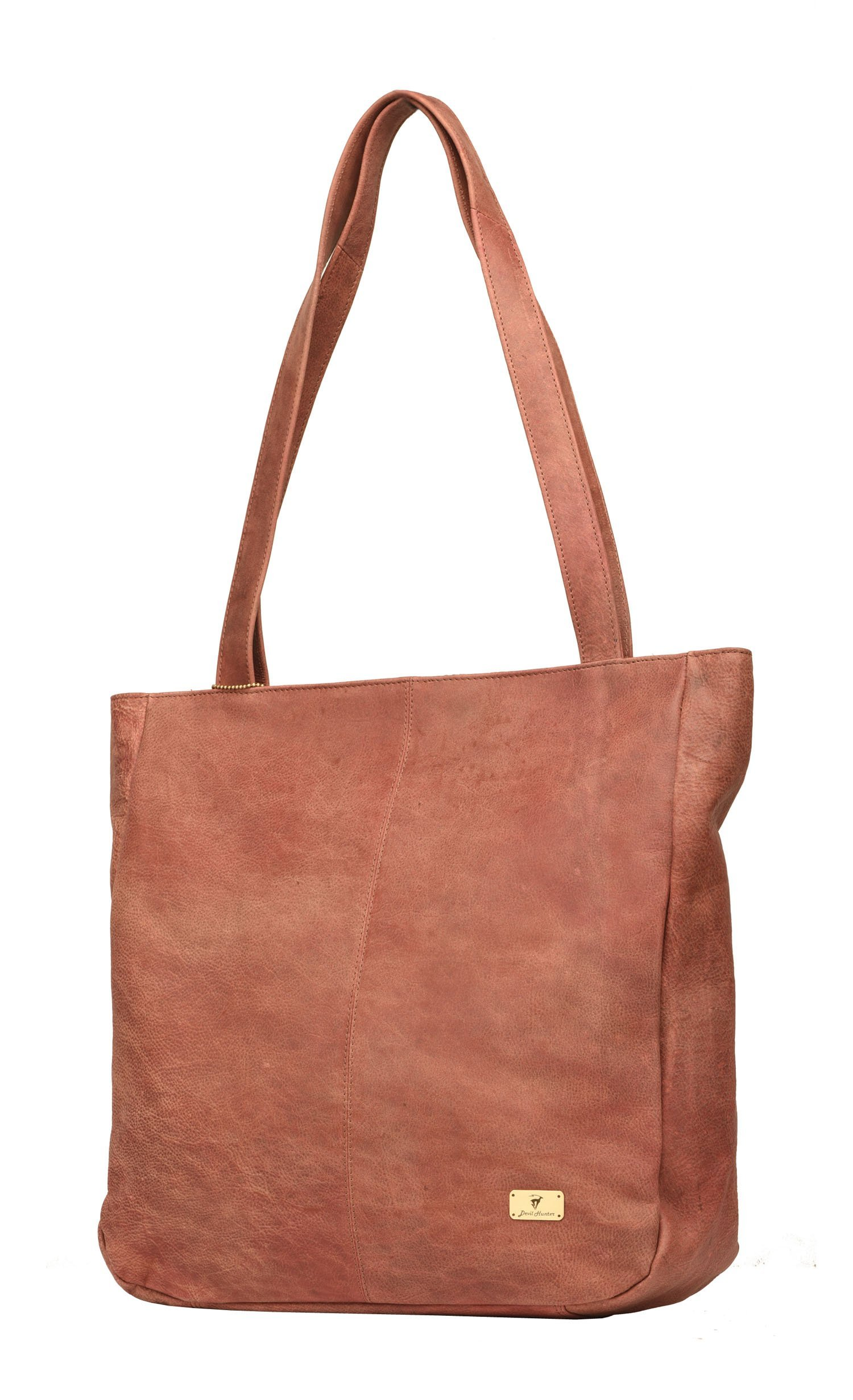DH Amber genuine buffalo leather shopper bag in vintage style for Women