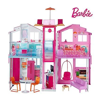 Barbie Mobilier Grande Maison de poupée de Luxe à 2 étages et 4 pièces dont  cuisine, chambre, salle de bain et accessoires, jouet pour enfant, DLY32