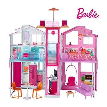 Barbie Dly32 Estate Three Story Town House Colourful And Bright Doll